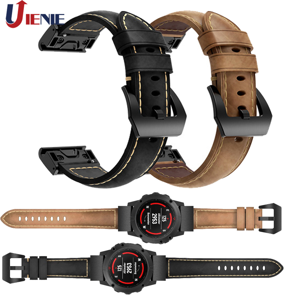 Leather Band Watchband Strap for Garmin Fenix 5/5X/5S Plus 6/6X/6S Smart Bracelet 20mm 22mm 26mm Quick Fit Wristband Strap