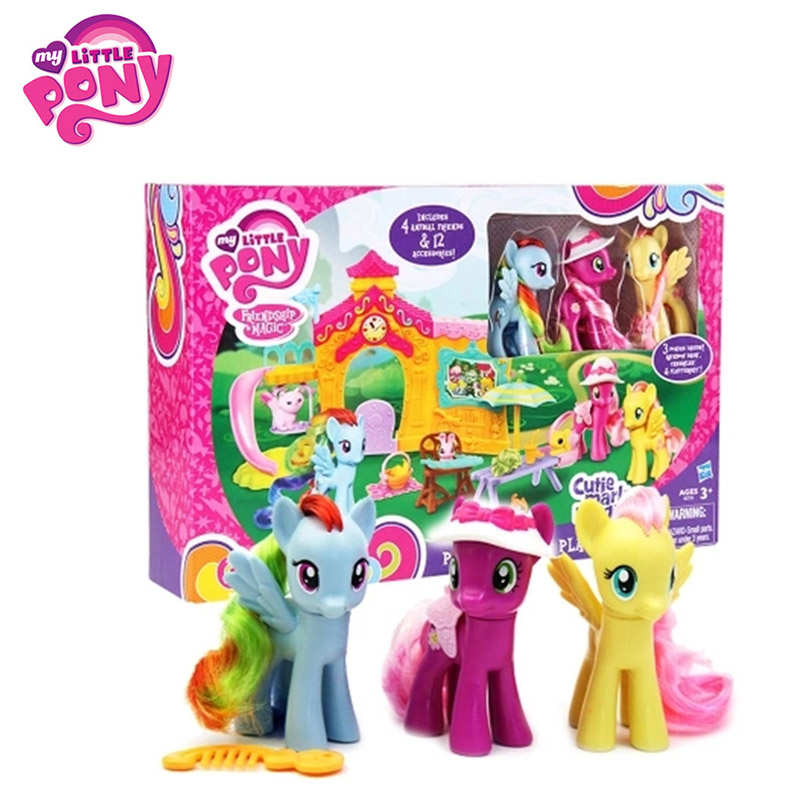 Hasbro My Little Pony Toy Movie&TV Toy PVC Action Figure Happy Time Scene Set Collection Model Doll Birthday Gift for Children character catboy owlette gekko cloak action figure toy plastic for boy birthday gift 6pcs set