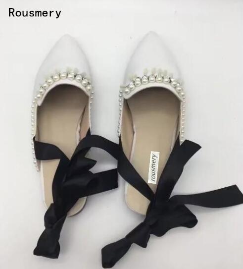 Rousmery 2017 Autumn Women Fashion Black or White Color Pearls Dimmond Crystal Lace Up Back Pointed Toe Flats Big Size 43 black sequins embellished open back lace up top