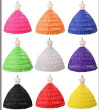 6 Hoop Wedding Petticoat Crinoline Underskirt Bridal Slip Skirt Prom Dress Gown 9 colors choose