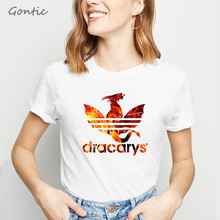 Dracarys Women Tshirt Game of Thrones tee Mother Dragons T-shirt Dragon Fire Winterfell White Vogue T Shirt Summer Tops