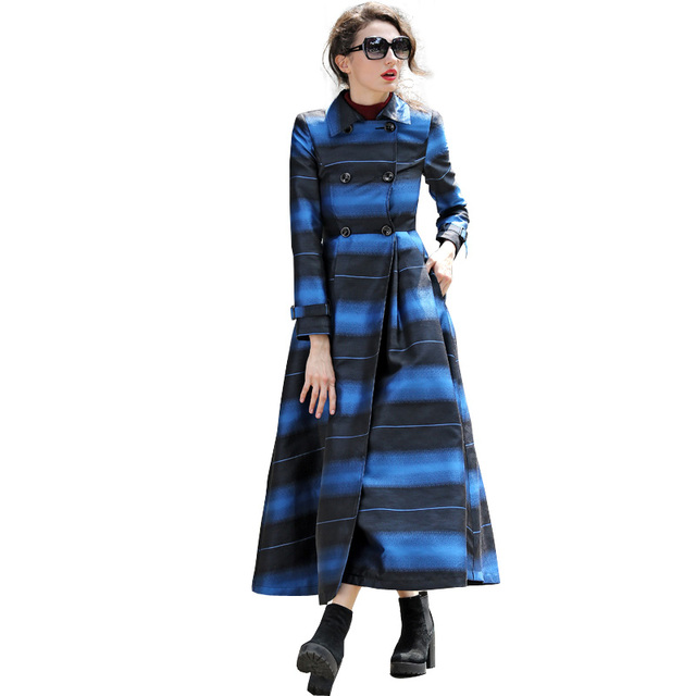 Женщины Двойной Брестед Длинный StripeTrench Пальто 2016 Новый Осень Зима Плюс Размер S-XXXL Длинным Рукавом Макси Пальто RS315