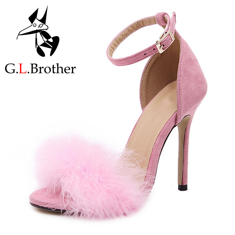 1c3a2623f7fc G.L.Brother Fur Sandals Heels Women High Heel Sandals Sexy Stripper Shoes  Sandals Women Thin Heels Sandale Fourrure Femme -in Women s Sandals from  Shoes on ...