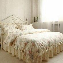 Nueva Pastoral juego de cama tamaño queen rose imprimir funda nórdica de la colmena elegante falda de la princesa ropa de cama hoja de cama ropa de cama colcha