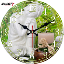 MEISTAR Vintage Wooden Clock Buddha Design Silent Living Room Kitchen Home Decor Watches Wall Art Large Wall Clocks 2018 стоимость