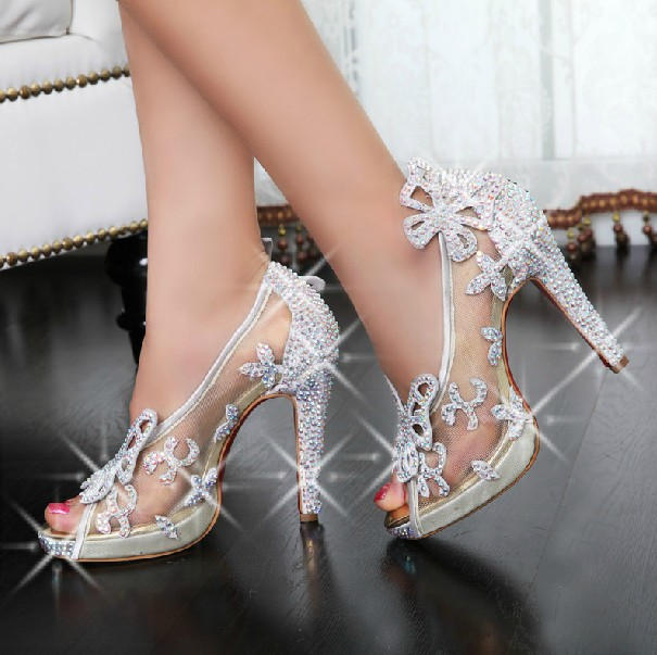Captivating Limited Cinderella Glass Slipper Sandals,crystal Wedding Shoes High Heels  Peep Pumps Bowknot Red Bottom