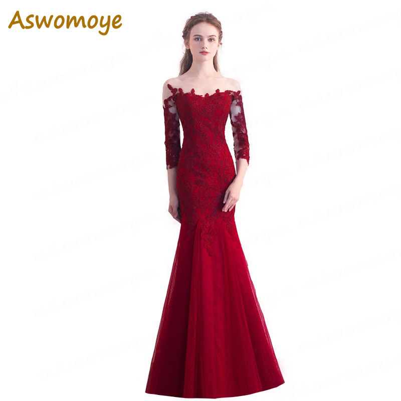 Elegant Appliques Mermaid   Evening     Dress   Long 2018 Banquet Party   Dress   Illusion O-Neck Prom   Dresses   Custom Size Robe De Soiree