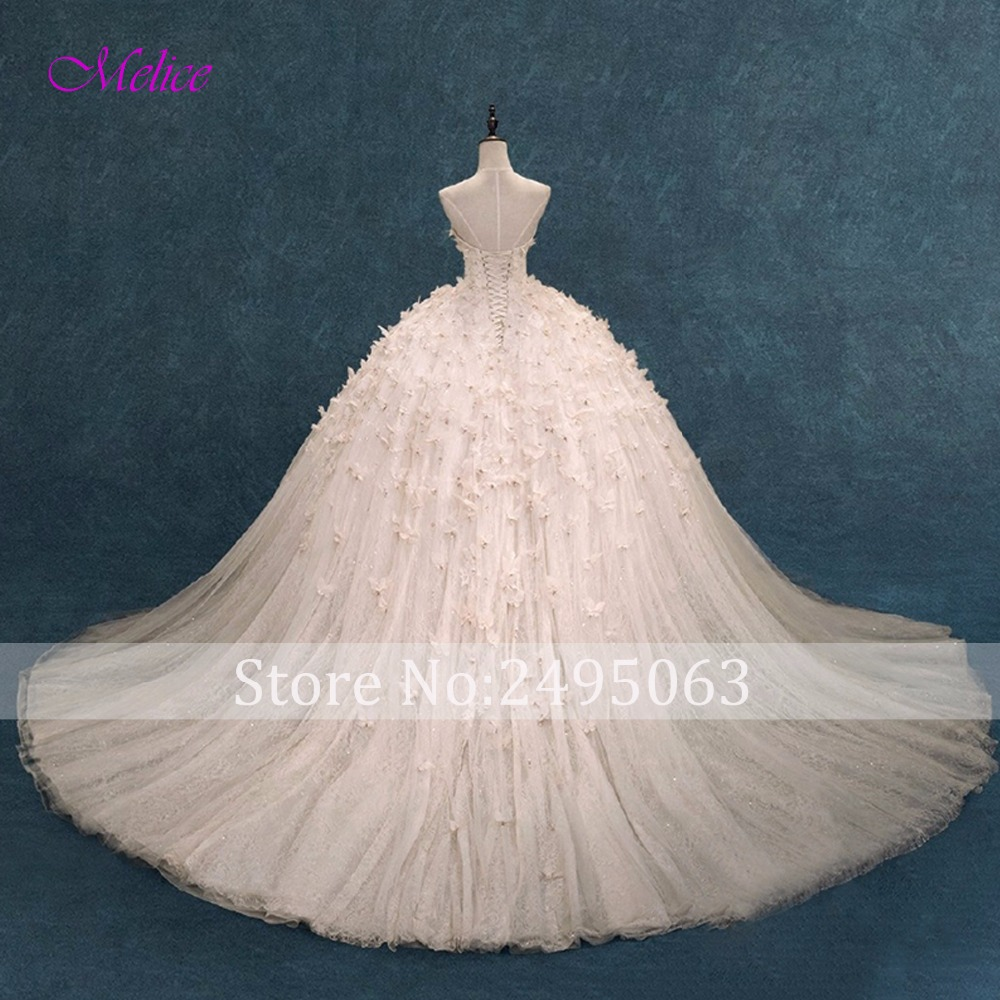 Melice Gorgeous Appliques Beaded Flowers Ball Gown Wedding Dress ...