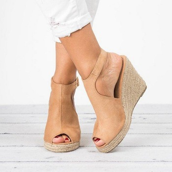66eb54b8 Sandalias de plataforma LASPERAL cuñas zapatos para Mujer Peep Toe tacones  altos Sandalias Mujer zapatos de verano Sandalias de tacón de cuña de cuero