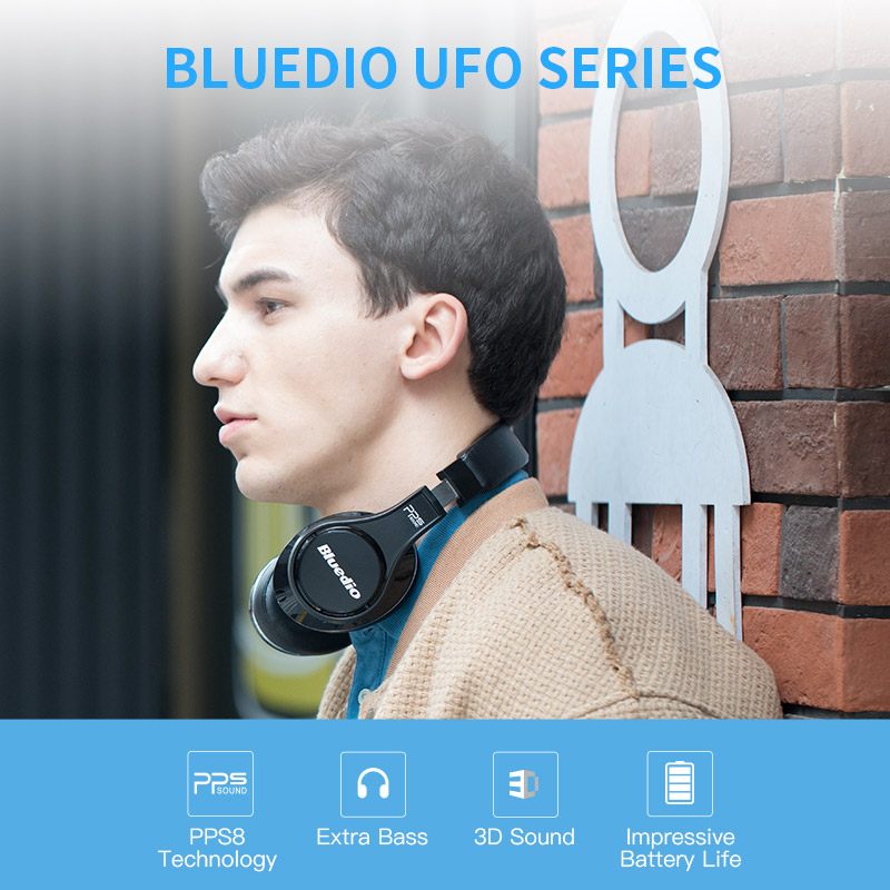 Original Bluedio UFO 3D Bass Bluetooth Headphones Patented 8 Drivers HiFi Wireless Headset for mobile phone and music original bluedio ufo plus 3d bass bluetooth headset patented 12 drivers hifi wireless headphones with microphone for music phone