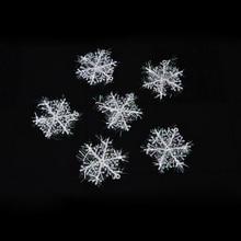 30 шт./компл. 6 см Рождественский орнамент Белые снежинки пластик Рождество Sonwflake елка подвеска для вечеринок украшения