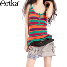 Artka ретро женская летняя одежда круглым воротником без рукавов цветочный высококачественный элегантный облегающий удобный хлопоковый жилет (5 цветов) B09618
