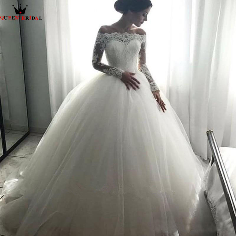 Wedding Dressing Gowns Personalised: Custom Made Ball Gown Long Sleeve Lace Tulle Fluffy