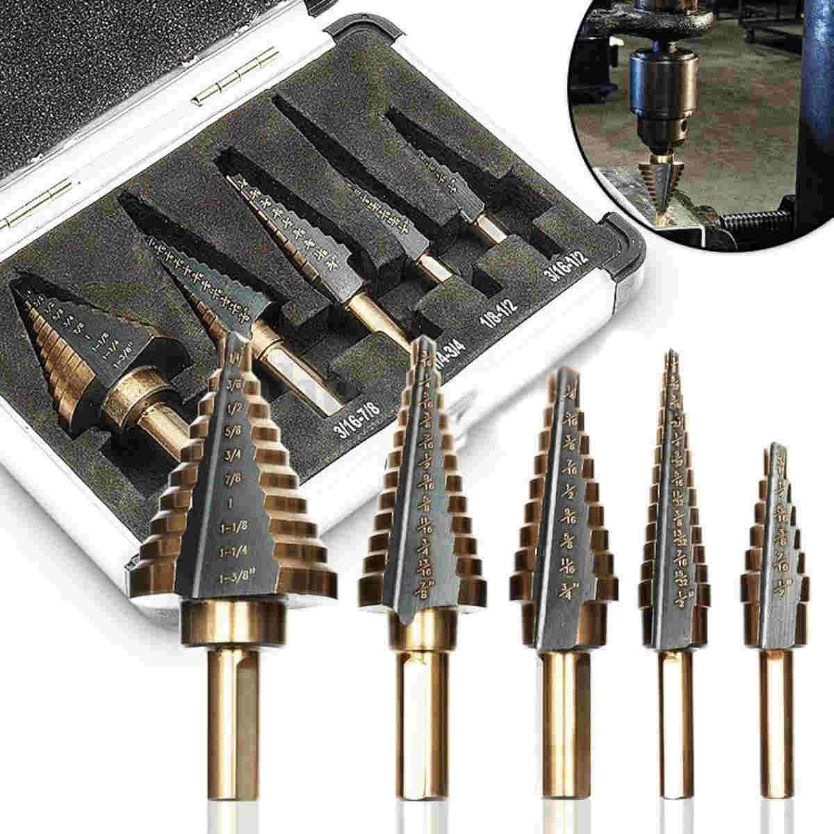 5 Pcs HSS Large Cobalt Hole Titanium Cone Step Drill Bit Tools With Case