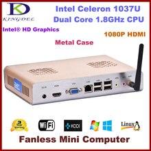 Бесплатная доставка тонкий клиент, станция ПК, Мини Desktop 4 ГБ Оперативная память + 64 ГБ SSD Intel Celeron Dual Core, 1.8 ГГц, Windows 7 ОС 1080 P HDMI, WI-FI