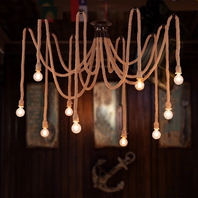 Loft Style Hemp Rope Droplight Edison Pendant Light Fixtures For Dining Room RH Hanging Lamp Vintage Industrial Lighting loft style wooden cask hemp rope droplight edison vintage pendant light fixtures for dining room hanging lamp indoor lighting