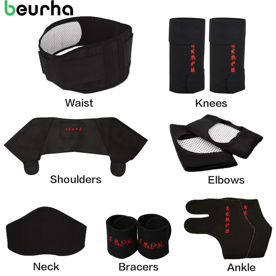 Beurha 11PCS Self-heating Tourmaline Belt Magnetic Therapy Neck Shoulder Posture Correcter Knee Support Brace Massager Products self heating magnetic therapy pain relief wrist band brace strap support black pair