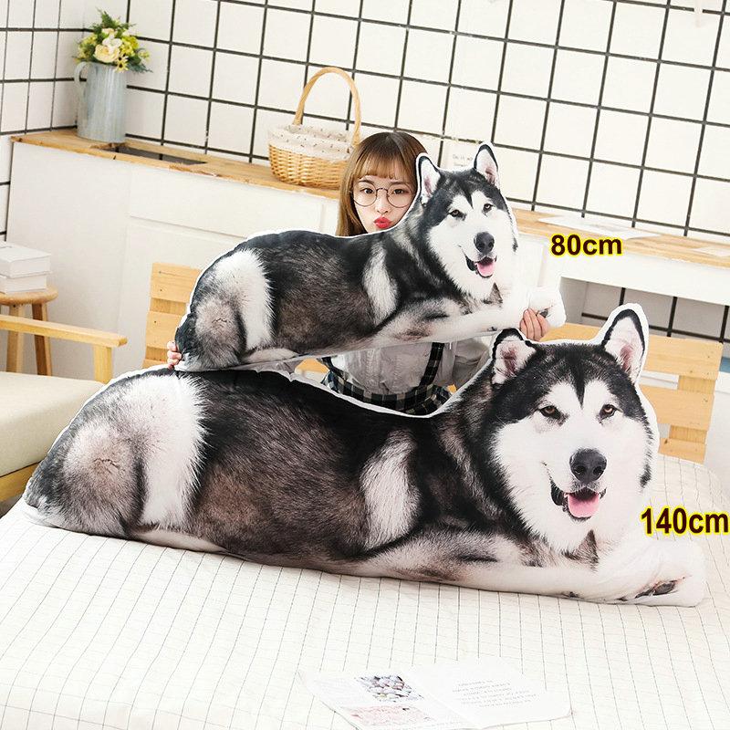 31 / 55' Long Husky Stuffed Sleeping Pillow 3D printed Realistic Shiba Inu Dog Throw Hug message Pillow Cat Bed Cushion Decor