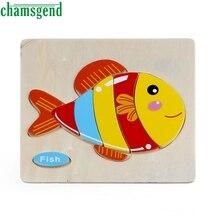 Высокое Качество Деревянных Милые Рыбы Головоломки Обучающие Развивающие Baby Дети Обучение Игрушки Aug24