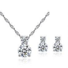 LUKENI Cute Crystal Bear Pendants Necklace For Women Jewelry Girl Fashion 925 Sterling Silver Earrings Lady Bride Wedding
