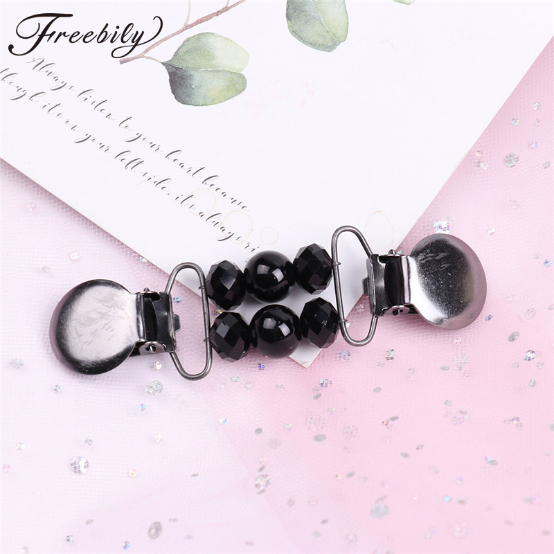 Trendy Women Sweater Shawl Clips Cardigan Collar Duck-mouth Metal Brooch Clips Holder Crystals Glass Beads Brooches Accessories