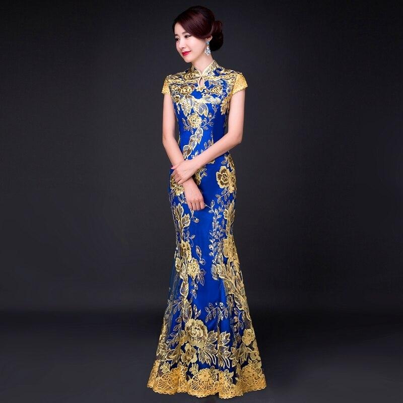 Aliexpress Com Buy Blue Fishtail Lace Cheongsam Gold