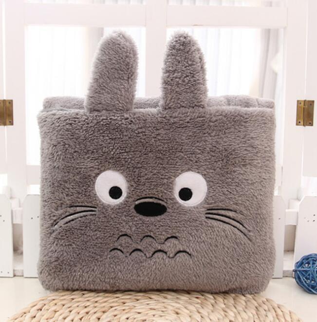 Cartoon Plush Creative Totoro Blanket  Sofa Throw Blanket For Bed Foldable Cushion Travel Warm Blanket 80x100cm