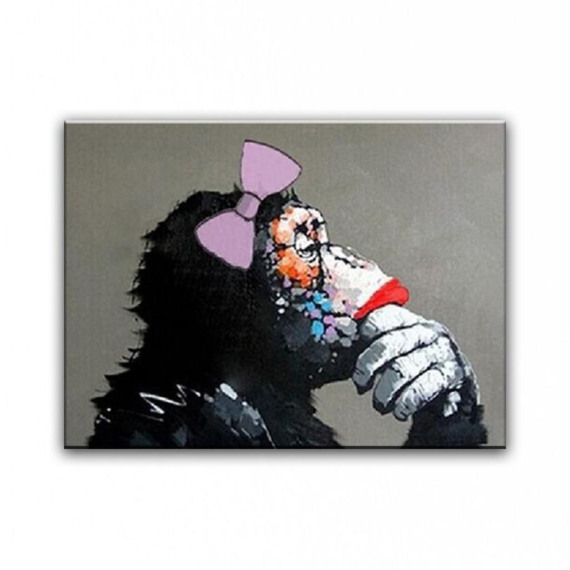 100 % 손으로 그린 유명한 유화 고품질 현대 예술가 사랑스러운 고릴라 홈 장식 DM-150112