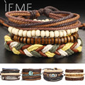 1Set Multilayer Leather Bracelet Men Jewelry Boho Rock Wood Bead Bracelets For Women Love Vintage Bracelets & Bangles Gift