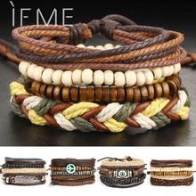 1Set Multilayer Leather Bracelet Men Jewelry Boho Rock Wood Bead Bracelets For Women Love Vintage Bracelets & Bangles Gift