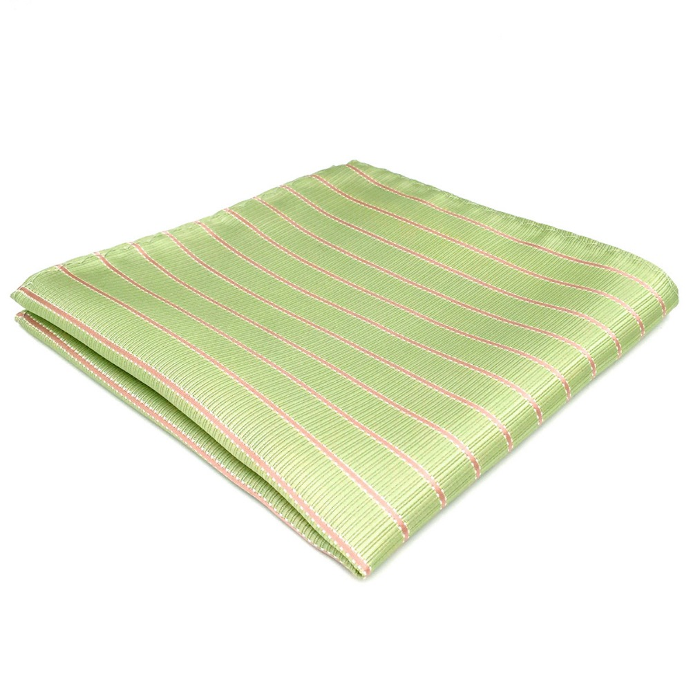 DH19 Light Green Striped Mens Pocket Square Silk Handkerchief Groom