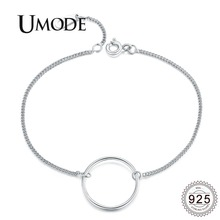 UMODE 2019 New 925 Sterling Silver Simple Bracelets for Women Round Circle Loop Bracelet Jewlery Extend Link Chain Gifts ALB0070