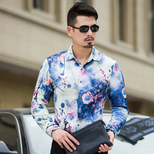 MarKyi 100% cotton 3d-pritn floral men designer shirts plus