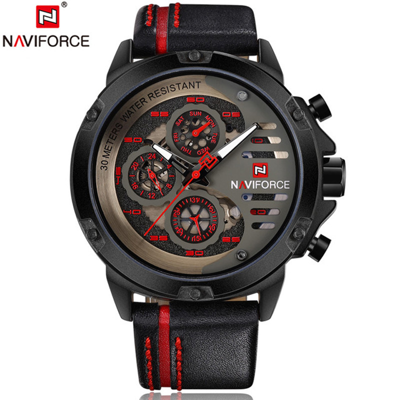 NAVIFORCE 9110 Men Watch Date Week Sport Mens Watches Top Brand Luxury Military Army Business Genuine Leather Quartz Male Clock сотовый телефон texet tm d301