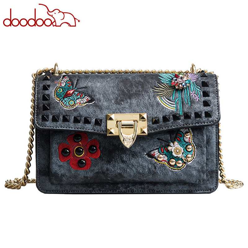 Vintage Rivet Shoulder Messenger Bags Butterfly Flowers Embroidery Pearl Designer Famous Brand Women Chain Crossbody Bags gg Bag vintage rivet hollowed butterfly ring for women page 7