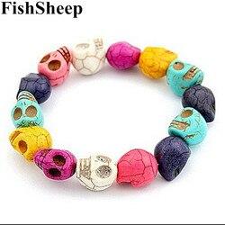 Bracelets de crâne en pierre naturelle Vintage fishmouton Bracelets pour femmes hommes Bracelets de crâne perlé blanc/bleu 2017 Accessoires de mode
