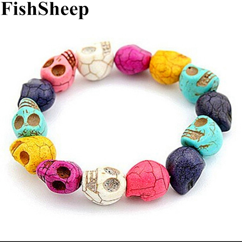 FishSheep Vintage Natural Stone Skull Armband Bangles För Women Men White / Blue Beaded Skull Armband 2017 Fashion Accessories