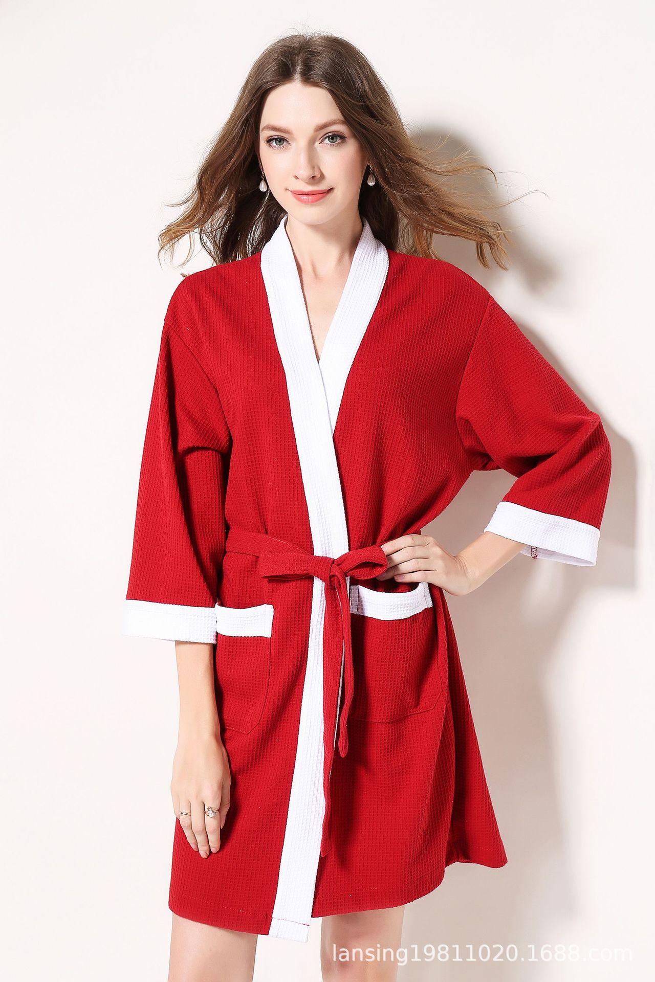 Five-star hotel  waffle robe bath robe bath robe batasde mujer  kimono robe sexy robe  ladies long gowns black  plus size women