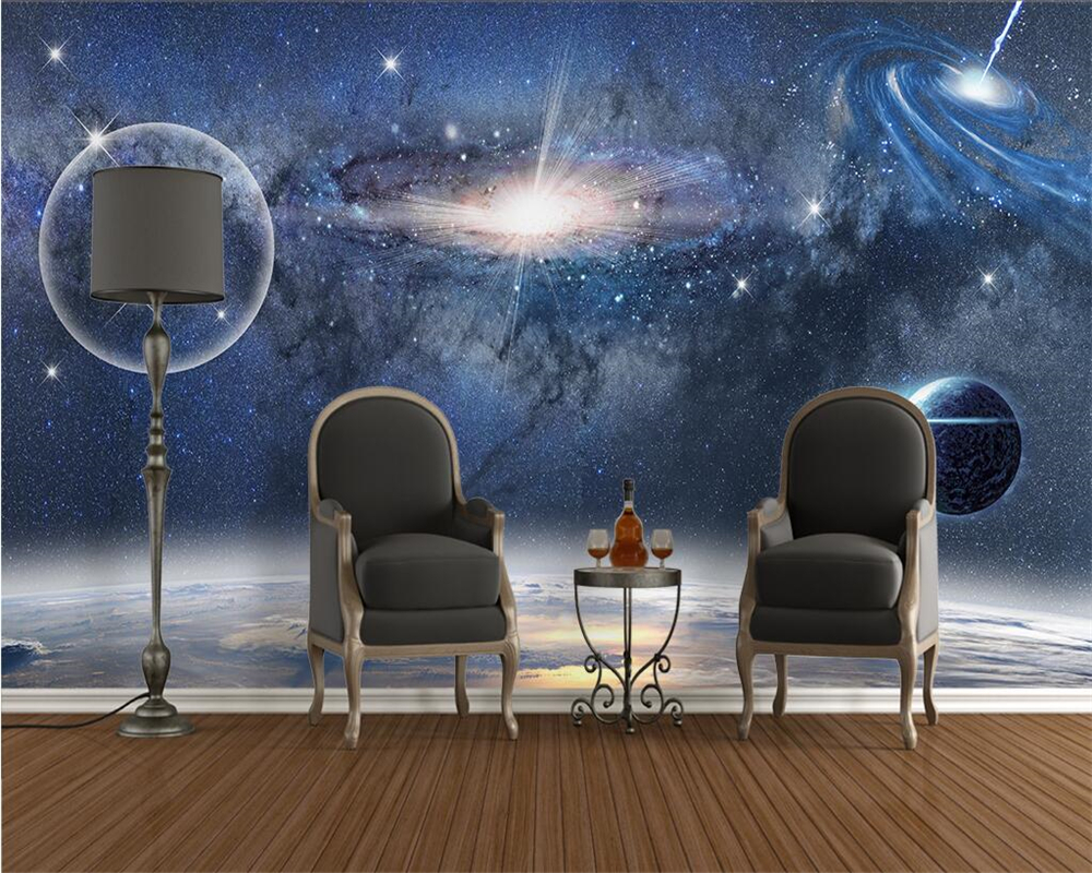 aesthetic background bedroom space living hole 3d custom tv sofa starry wallpapers beibehang