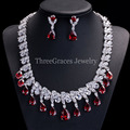 Nigerian Design Wedding African Cubic Zirconia Beads Jewelry Sets Red Crystal Large Bridal Necklace And Earrings JS039