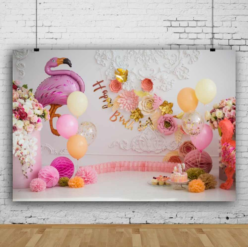 Flamingo birthday backdrops for photography pink balloons flower cake dessert chic wall baby child photo background