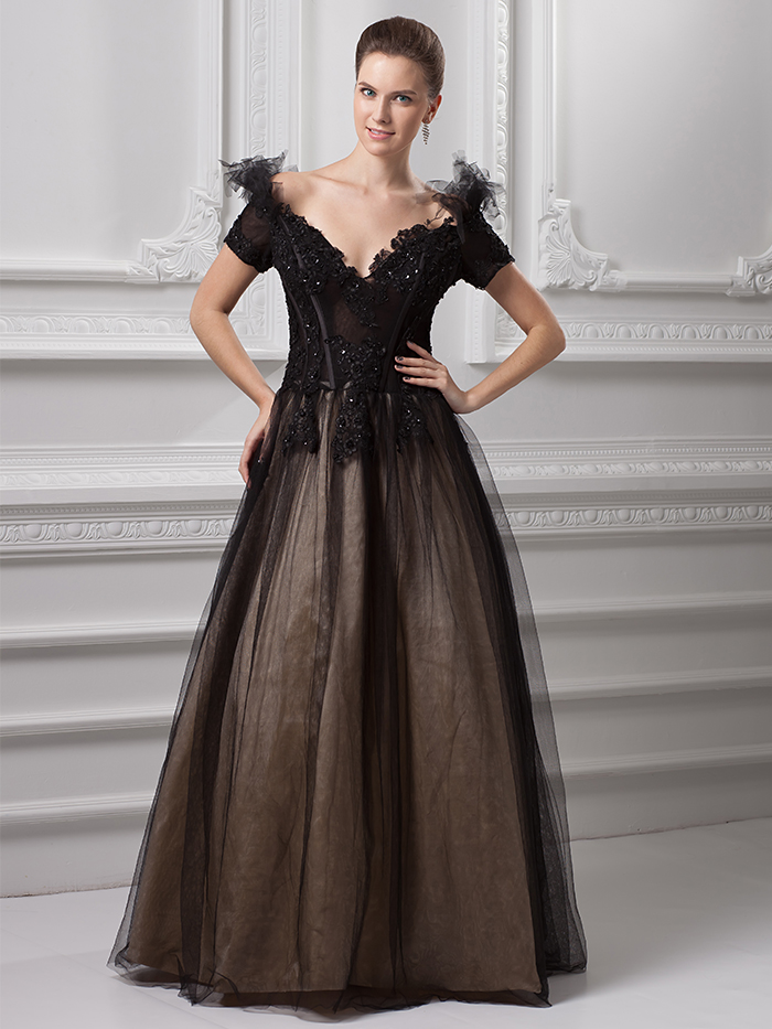 Fabulous Vintage Gothic Black Wedding Dresses With Color Off The Shoulder V Corset S Long Floor Length Non White Bridal Gowns And