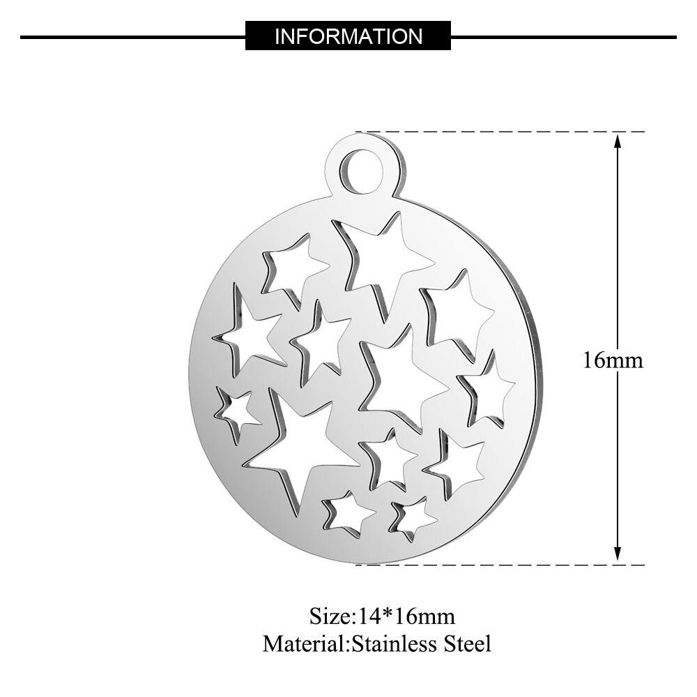 10 шт./лот из нержавеющей стали Угловые Подвески VNISTAR полированная звезда снежинка Звездная Луна DIY ювелирные изделия Шарм поиск поставки - Окраска металла: T108