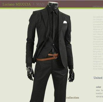 Top quality Value a deduction Korean Slim Men's casual suit professional business black