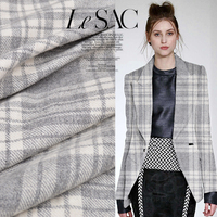 Fashion Classic Light Grey White 88 Wool Plaid Fabric For Coat Dress Woolen Fabrics Tissu Au
