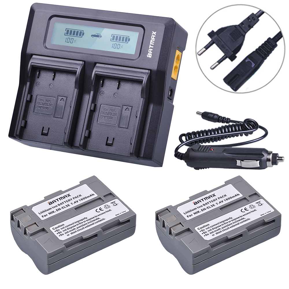Batmax 2Pcs EN-EL3E EN EL3E ENEL3E Battery + LCD Rapid Dual Charger for Nikon D70 D70S D80 D90 D100 D200 D300 D300S D700 Camera стоимость