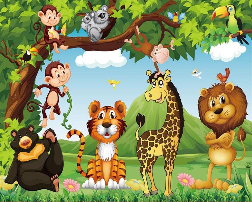 Beibehang Custom wallpaper cartoon animal world children room