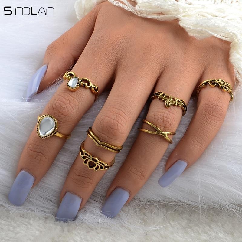 New Fashion Bohemian Pernikahan Perhiasan 7 pcs / Set Besar Tetes - Perhiasan fashion - Foto 4