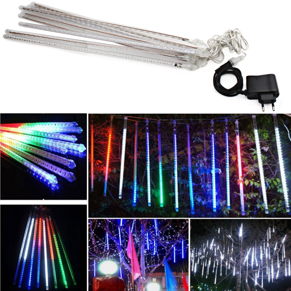 Waterproof 100-240V 240 LEDs Waterproof 50cm/1.6ft Tube Outdoor Snowfall Meteor Shower Rain Christmas Lights String ...