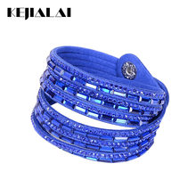 Kejialai Women Leather Bracelets Double Circle Wrap Bracelets Rhinestone Multilayer Women's Bracelet Fashion Jeweley KJL005(China)